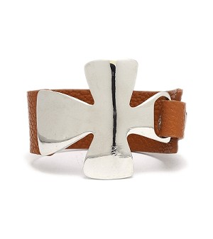 Bold Silver Cross with Brown Leather Strap
